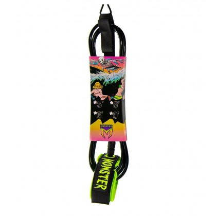 MONSTER SURF LEASH - 8FT x 7MM - Black/Green