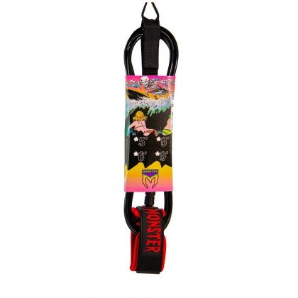 MONSTER SURF LEASH - 6FT x 6MM - Black/Red