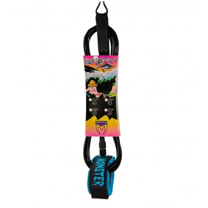 MONSTER SURF LEASH - 8FT x 7MM - Black/Sky Blue