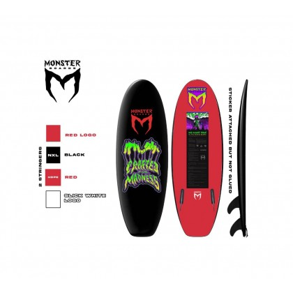 Prancha Monster Boards 4'10'' - Twin Fin - Black & Red
