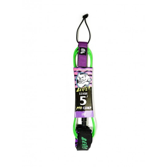 Beater Pro Comp 5Ft Leash - Verde / Roxo